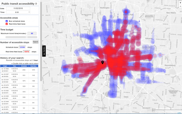 Screen capture of CURIO's transit accessibility visualization tool showing the bus stops that are accessible in 60 minutes from an origin location in Franklinton based on schedule (in blue) and realtime bus location data (in red).